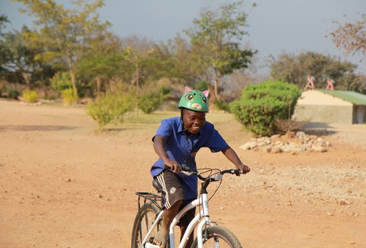 Child riding new bike